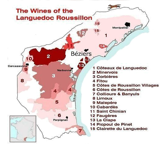 Map of the wine regions of Languedoc-Rousillion