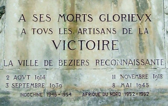 Inscription on the war memorial